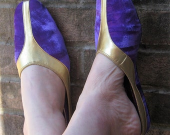 I feel like Jasmine In Retro Purple Velvet N Gold Slip On Shoes Size 7 never Used