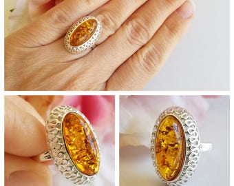 Amber Ring - Sterling Silver Ring - Baltic Amber ring - Amber Jewelry - Statement ring - Genuine Amber Ring - Real Amber ring - Large Ring