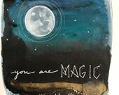 Moon Series #9 Original Painting Handdrawn Watercolor Gold Turquoise Ink Indigo Illustration