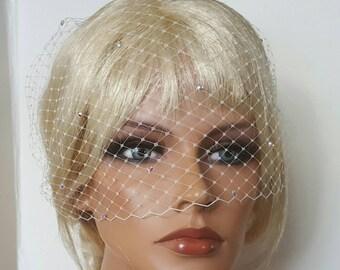 Veil, Ivory French Net Bridal Veil, Small Veil, VIntage Style Veil, White Bridal Veil, Ivory Bridal Veil, rhinestone Bridal veil,  bandeau