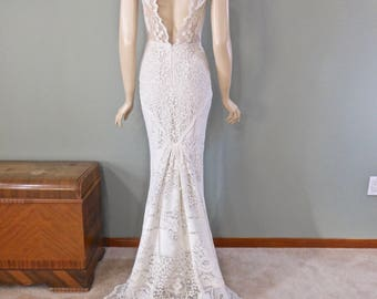Wedding Dress IVORY Lace Wedding Dress UNIQUE Wedding Bohemian Wedding Dress Handmade One of a kind Simple Wedding Dress Sz Medium