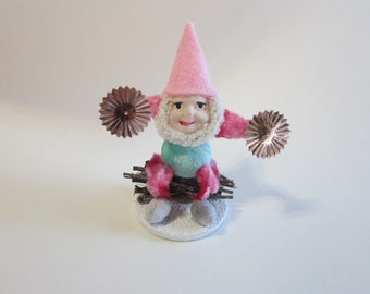 handmade pinecone elf - spun cotton, clay face elf, bump chenille, glass glitter, vintage spangles, hand painted