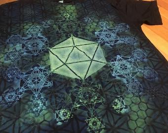 L  Icosahedron / Metatron's Cube Fractal Mandala Hand Painted Sacred Geometry Chakra Tee w/ Flower of Life, Honeycomb