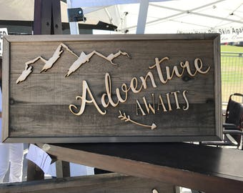 Rustic Wooden sign made from faux Barn Wood Barnwood Adventure Awaits bw06