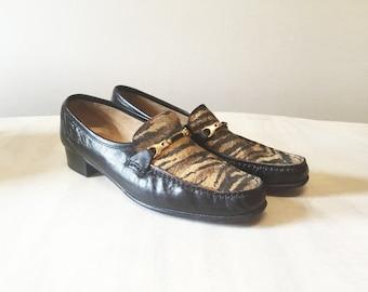 Vintage loafers, faux fur shoes, leather shoes, leather loafers, slip on shoes, animal skin loafers, faux fur loafers, women shoes, slip ons