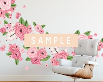SAMPLE ** Graphic Flower Clusters in Bright Pink