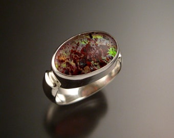 Strawberry Quartz and lab Opal Doublet ring Sterling silver size 6 3/4