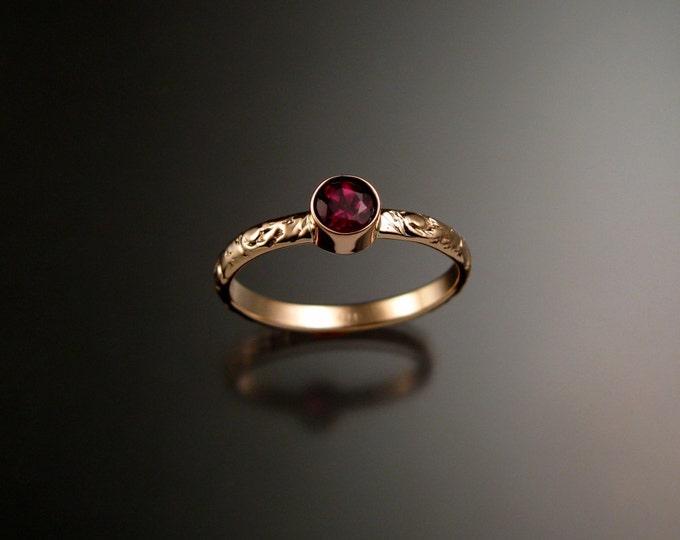 Rhodolite Garnet ring 14k Rose Gold bezel set Victorian floral pattern ring made to order in your size
