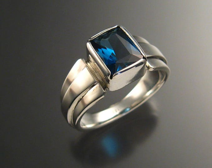 London Blue Topaz ring Large rectangle 9 x 11 mm stone deep blue Sterling silver Sapphire substitute mans ring Made to order in your size