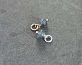 Icy Blue Moss Aquamarine Pendant, Sterling Silver or 14k Gold Filled Small Stone Charm - Add a Dangle