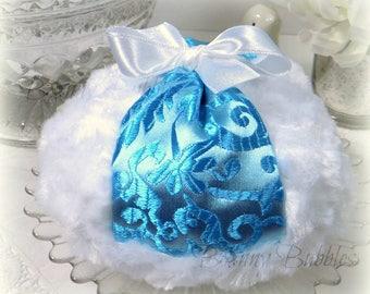 TURQUOISE BLUE Brocade Powder Puff - satin brocade and white plush - pouf bleu - gift box option - handmade by Bonny Bubbles