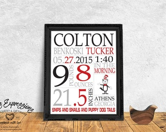 Personalized Baby Boy Stats Art Print,The Cat in the Hat,8×10 Velvet Fine Art Print, Birth Announcement,Nursery Decor, Baby Shower Gift