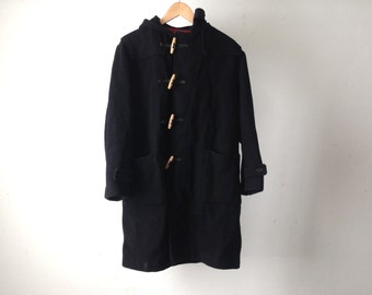 vintage men's WOOL PARKA solid long coat 80s BLACK hooded jacket Pea coat
