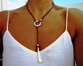 ring leather necklace, lariat necklace, eternity necklace, silver necklace, bohemian jewelry, hippy jewelry, silver necklace, silver jewelry