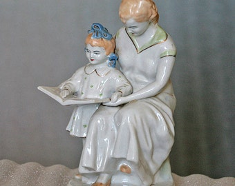 Vintage figurine statues -the First book - White porcelain 1960 - ies - from Russia / Soviet Union / USSR