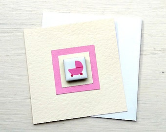Baby Girl Card, New Baby Card, Magnet Card, New Birth, Pregnancy Card, Congratulations Card