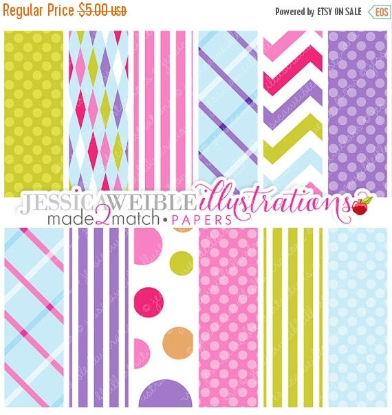 ON SALE Made 2 Match: Girls Camp Trip Papers - Commercial Use OK - Digital Backgrounds, Pink, Purple, Green, Blue Papers