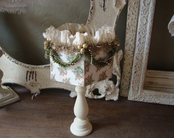 Christmas table decor Shabby Chic christmas Centerpiece Candy Dish on pedestal container kitchen table Cottage Chic Ivory gold