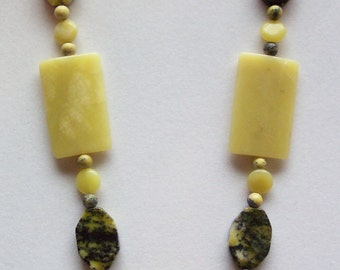 """Yellow Necklace, Olive Green Necklace, Natural Serpentine Gem Stone, New """"Jade"""", Olive Green, Pale Yellow and Black Necklace"""