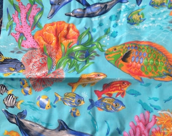 Tropical Fish Dolphins Coral Reef Pcean Cotton Quilting Fabric