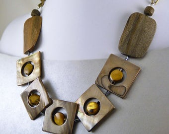 Vintage Modern Mother of Pearl  Statement Necklace