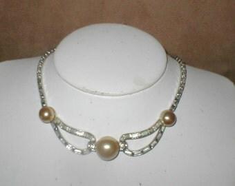 Vintage 1940's Ivory Pearl &  Rhinestone Choker Necklace