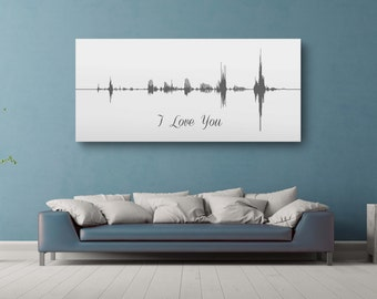 10 Year Anniversary Gift, Voice Wave Print Art, A Custom Message On Canvas