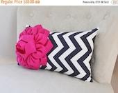 HALLOWEEN SALE Pink and Navy Decorative Pillow, Chevron Navy Decor, Lumbar Pillow, Home Decor, Nursery Decor, Hot Pink and Navy Decor, Trend