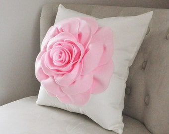 Decorative Pillows, Rose Applique Pillow Light Pink on Cream Pillow 14x14 Perfect for Any Occasion