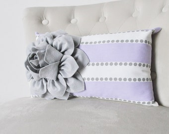 Gray and Lilac Stripe Lavender Pillow Cover, Floral Lavender Pillow Cover, Pillow Cover lumbar Covers, Decorative Pillow,Accent Pillow Cover