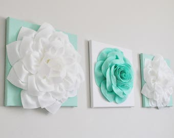 Mint & White Floral Décor Set of Three Wall Canvas Contemporary Mint Green Wall Art - Modern Flower Artwork - Mint Green Nursery Wall Decor