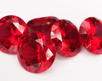 Round Faceted Lab Created Red Ruby (Synthetic Corundum, 10 Piece parcels)