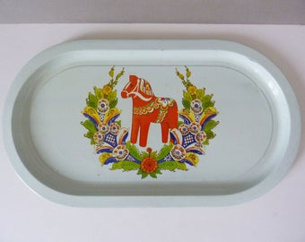 Vintage small Dala horse tray