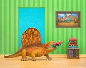 Bright dinosaur diorama art print for kids rooms: Omnivorous Reader