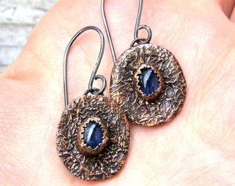 Copper Earrings, Sapphire Earrings, Silver Earrings, Gemstone Earrings, Rustic Earrings, Naturelover Earrings, Organic Earrings, Gift