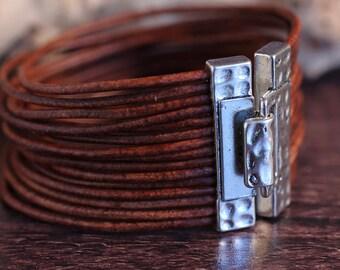 Multi Strand Bracelet , Leather Bracelet , Statement Bracelet , Leather Cuff , Silver Cuff , Hipster Bracelet , Leather Jewelry , Amy Fine