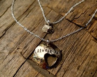 Always in My Heart Brass & Sterling Silver Heart Cut-out Mother/Daughter Grandmother/Granddaughter Necklace set
