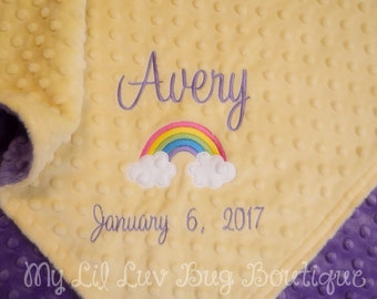 Personalized baby blanket- rainbow baby blanket yellow and purple- personalized rainbow blanket- Stroller blanket 30x35- name baby blanket