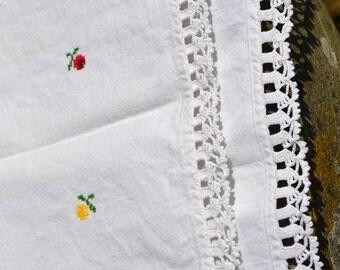 Vintage 1950 table runner/ woven linen textile/Romanian hand embroidered table cloth/Transylvanian farm/ hand crochet trim/ flower motif