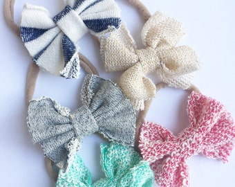 Knit bow elastic headband set of 3