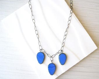 Blue Necklace, Modern Jewlery, Czech Glass Drops, Charms, Simple, Adjustable, Oxidized Look Silver, Royal, Cobalt