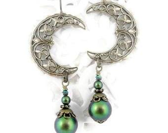 Bronze Moon Earrings - Moon Jewelry - Celestial Earrings - Tribal Earring - Boho Earrings - Bohemian Earrings - Gypsy Earrings - Moon Dangle