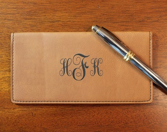 Monogramed Checkbook Cover, Tan Personalized Checkbook Cover,  Checkbook Cover, Leather Checkbook Cover