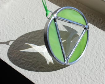 RECOVERY SUNCATCHER AA-Green Triangle in Circle Sobriety Gift, Gift for Sponsor, Recovery Gift, Soberversary Gift, Stained Glass Sobriety