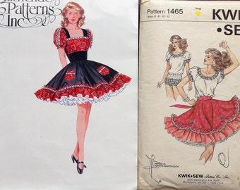 SALE -Two Vintage Square Dance Patterns -- Dress, skirt, bodysuit