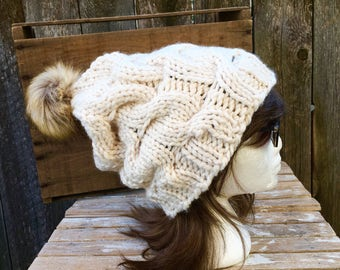 Cream Slouchy, Chunky, Cable Knit Hat in with Tan Faux Fur Pom Pom, Slouchy Beanie, Women's Hat, Winter Hat, Chunky Hat, Off White, Cream