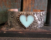 Heart cuff bracelet - Timeless - Boho jewelry, heart, love, bohemian gypsy jewelry, robins egg blue, rustic mixed metals soldered jewelry