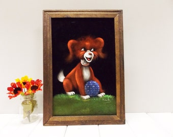 Vintage Dog Painting on Black Velvet--- Big-Eyed Red Puppy in Mexican Wood Frame
