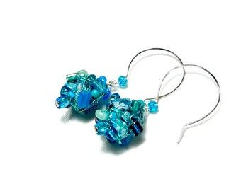 Turquoise Drop Earrings,  Blue Dangle Earrings,  Fabric Earrings,  Fiber Art, Art Jewelry, Aqua Blue