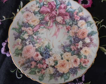Plate. Vintage Signed Lena Liu Plate #2  Circle of Elegance in Floral Greetings   1994 Bradford Exchange numbered piece  Size 7 1/2 inches